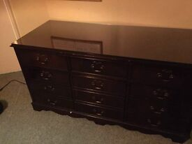 Wooden filing cabinet with glass top