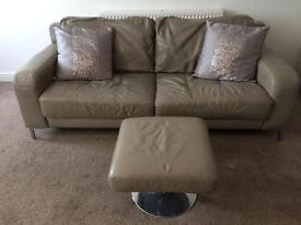 2 Leather DFS Sofas with Leather Swivel Footstool