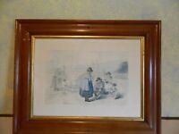 WENSLEYDALE KNITTERS PRINT OF a VINTAGE WATER COLOUR BY G.WALKER 1812