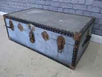 Large Vintage Steamer Trunk Travel Trunk Coffee Table Shabby Chic Window Display