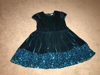 Girls Jade Green Sparkly M&S Party Dress (Age 3-4) - worn once