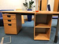 Corner desk. Oak. With matching pedestal and shelf unit £50