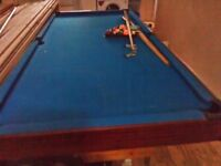 Pool table with balls, cues, triangle and chalks