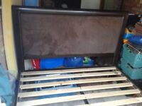 HEAVY SOLID WOODEN KING SIZE BED IN CHOCOLATE BROWN,SUEDE HEADBOARD, CAN DELIVER TO NORWICH