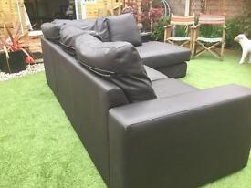 Chocolate brown corner chaise