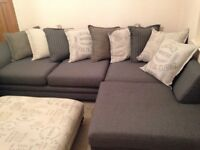 Corner sofa with matching 2 seater and footstool