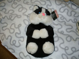 CAT SOFT TOY WITH A HOT WATER BOTTLE INSIDE- NEW UNUSED ITEM,STILL WITH LABEL ON.