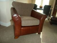 M&S brown leather chair with fabric base/back