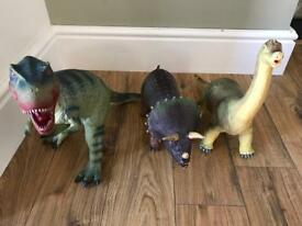 3 Large Rubber Dinosaurs