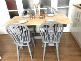 Oak Table and 4 chairs free delivery ldn🇬🇧Shabby Chic