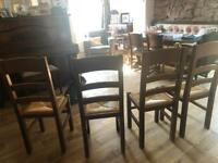 Table and chairs rustic solid oak