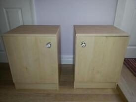 REDUCED!! two cabinets in maple with crystal style knobs. can be used any where in the hone
