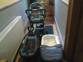 Coral Baby Pram 3 in1 Travel System
