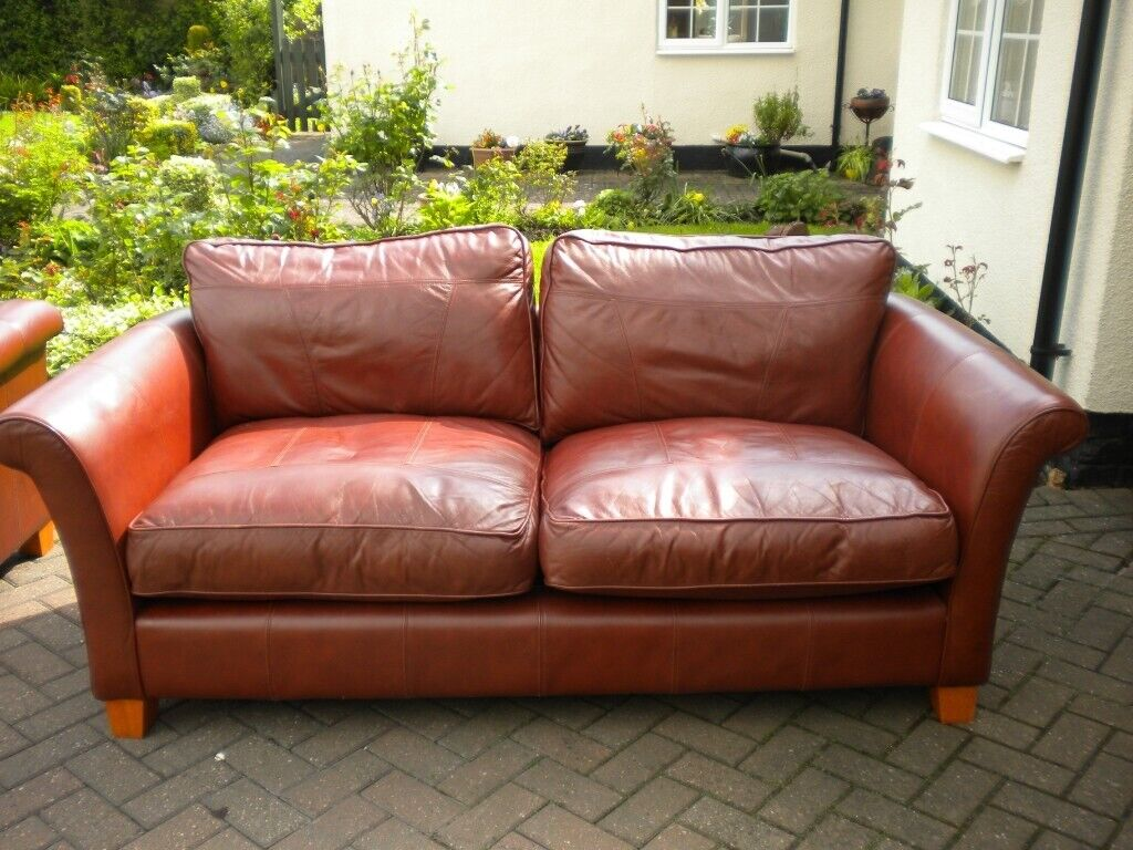 - 2 X CHESTNUT BROWN LEATHER SOFAS - SUPERB QUALITY