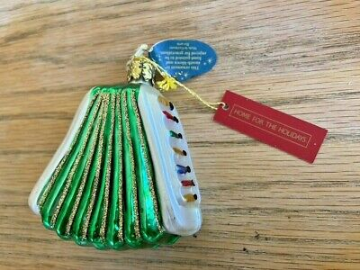 Vintage Christborn Handblown Glass Accordian Ornament Made in Germany Christmas