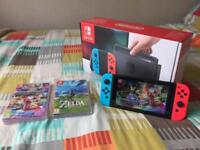 Nintendo Switch 32GB Console Neon Joycons + Mario Kart + Zelda BOTW + Case