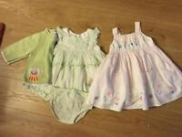 2 summer dresses size 9-12 month