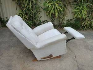 Recliner Rocker, with folding foot rest. Fabric cover, old but OK Ramsgate Rockdale Area Preview