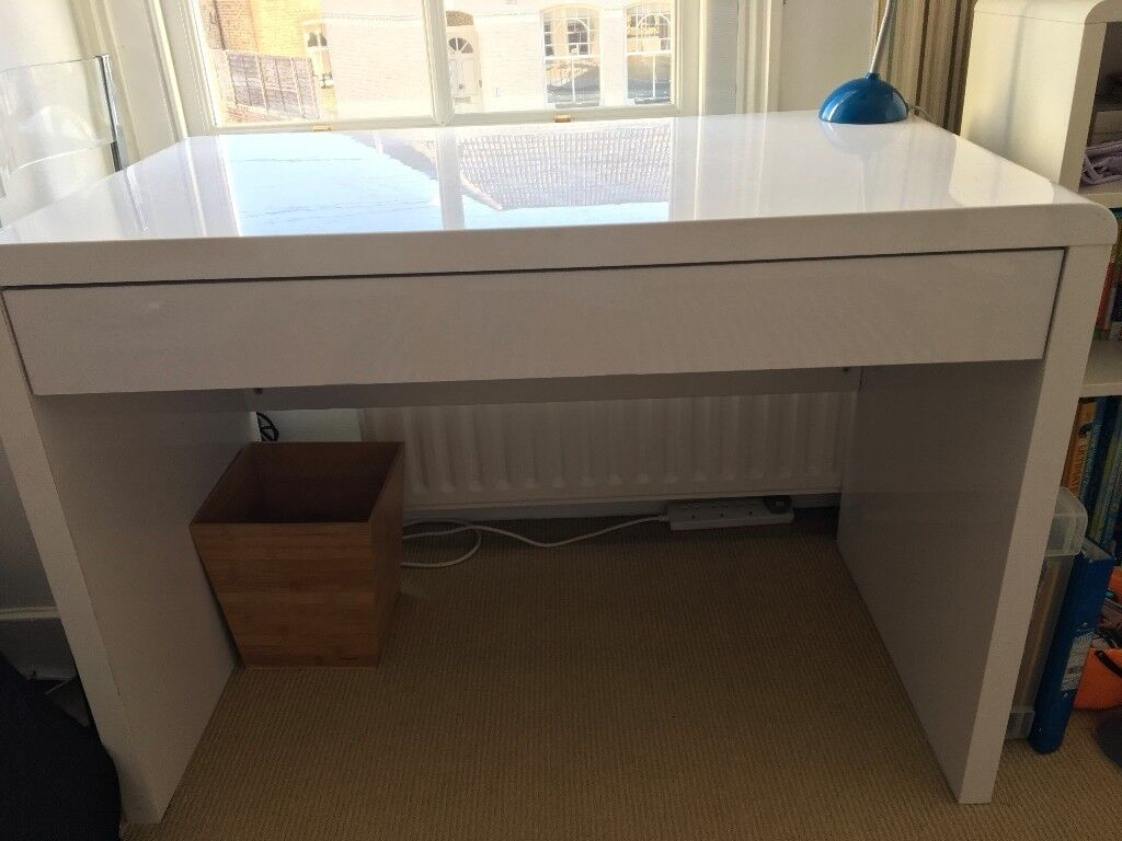 Luxor Gloss Workstation Desk With Drawer White
