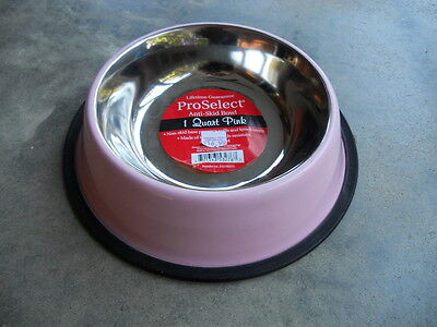 Pink 1 Quart Rubber Anti Skid Dog Cat Food Water Bowl Stainless Steel ProSelect