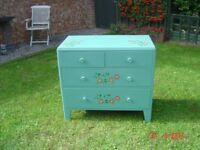 Retro / Shabby Chic Chest of Four Drawers. Made by Lebetkin Products Ltd. in 1956. Can Deliver.