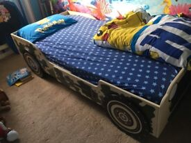Child's Jeep bed with mattress