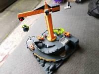 Children's toy crane and mine set