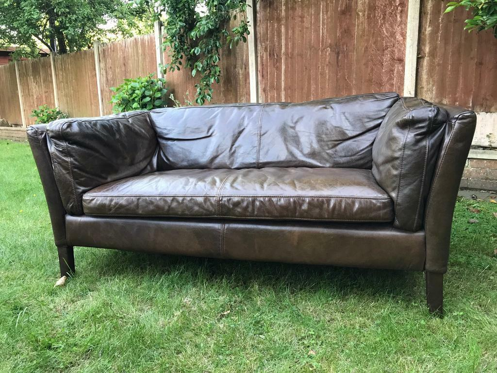 John Lewis Halo Groucho Leather Sofa In Kensington