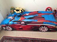Red Racing car bed frame and madress in excellent condition