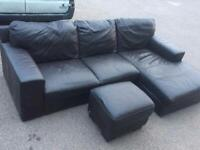 Corner sofa with footstool can deliver