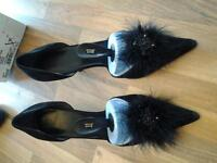 black kitten heels with jewel & feather size 8