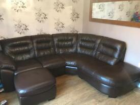 Leather settee and chair for sale less than 1 year old