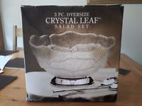 Crystal Leaf Glass Patterned Salad Bowl and Servers, silver plated