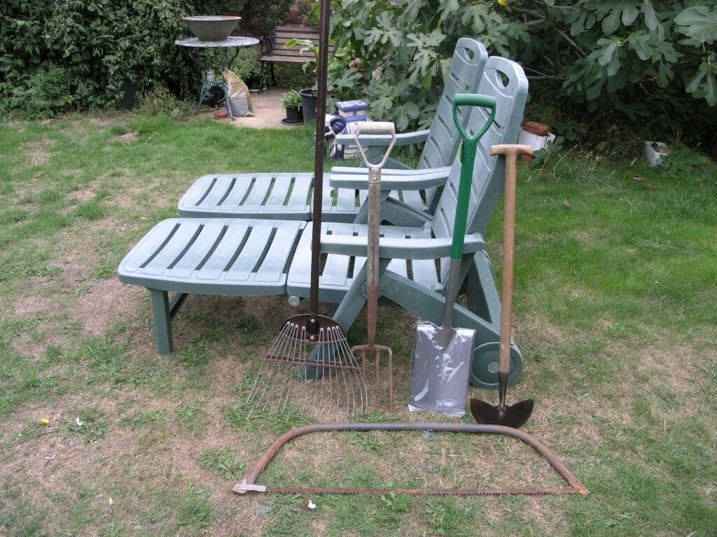 8 garden tools inc spade fork loppert rake hoe bow saw grass