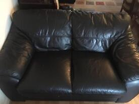 Black Leather Sofa's with a stool