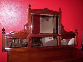 Bathroom Mirrors Edinburgh antique mahogany wall mirror, edwardian mirror, c.1925, overmantle