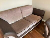 Brown sofa x 2 and footstool