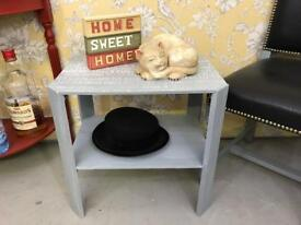 Vintage / retro occasional / side / end table grey colour decoupaged top