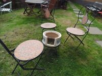 CAST IRON GARDEN SET 3 VERY HEAVY CAST IRON AND CERAMIC CHAIRS AND 1 FIRE CERAMIC FIRE PIT