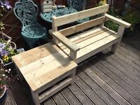 Garden 2 person chunky rustic style seat Bench and Table. Hand made from wood