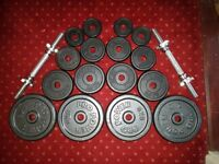 37 kg of cast iron weights and spinlock dumbbell bars