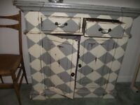 Antique style painted hardwood side cupboard