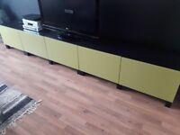 Ikea TV Unit Black with 5 Green Doors