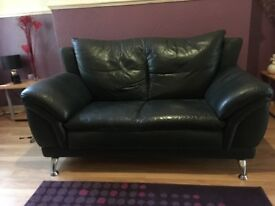 2 seater bottle green leather sofa