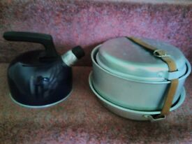 Camping cooking equipment.