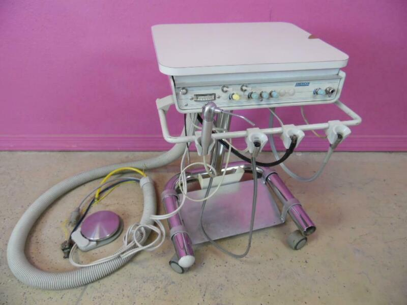 American Dental Portable Delivery Unit Handpiece Control Cart Stand & Footswitch