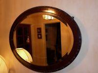 Antique mahogany oval mirror