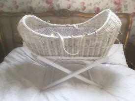 Babies Moses Basket/Cribb/Cot basinet Nursery with bespoke liberty print