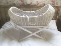Babies Moses Basket/Cribb/Cot basinet Nursery with bespoke liberty print