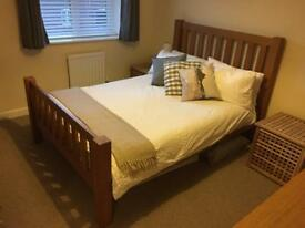 Solid wood bed frame and mattress